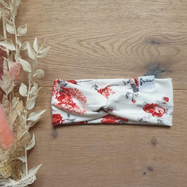 Weiss Blumen Rot - Baby Kinder Stirnband - Leichte Viskose