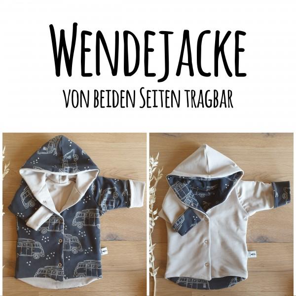 Busse Graublau (A) - French Terry Sand (B) - Wende oder Winter Jacke