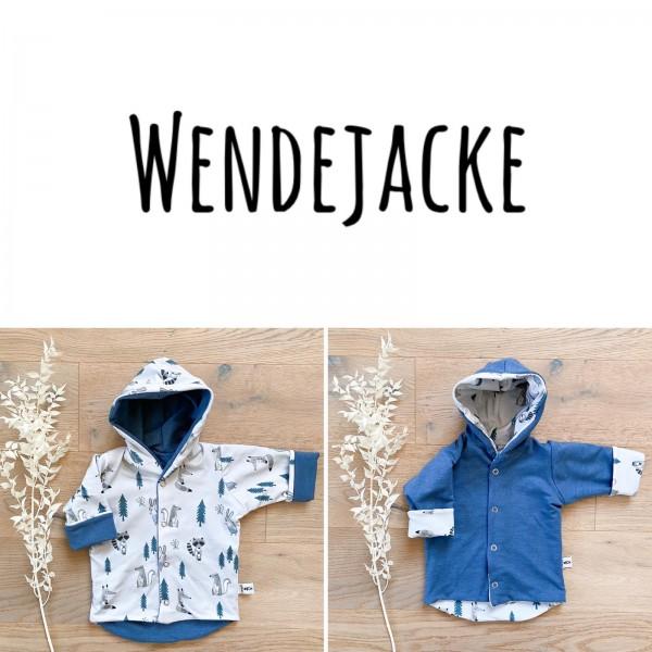 Blau Waldtiere (A) - Uni Jeansblau (B) - Wende oder Winter Jacke