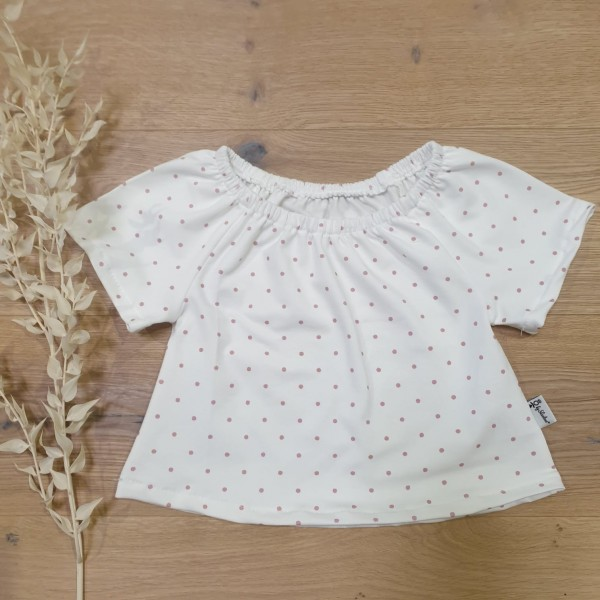 Cremeweiss Rose Punkte - Bluse