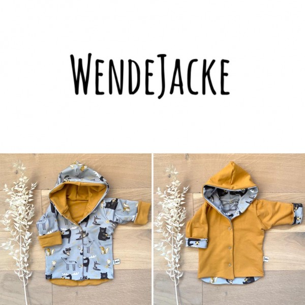 Grau Waldtiere (A) - Senf (B) - Wende oder Winter Jacke