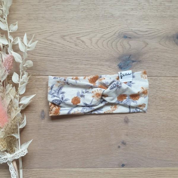 Meliert Blumen Senf - Baby Kinder Stirnband - Leichte Viskose