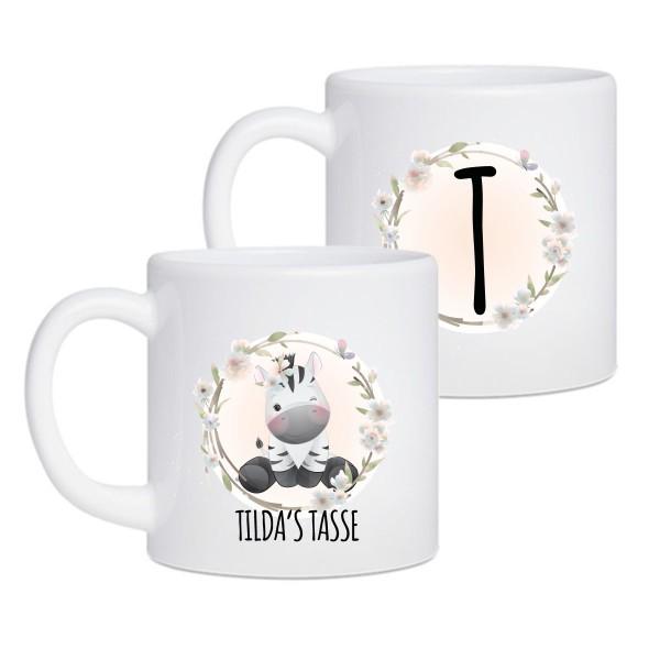 2er Set Baby & Kinder Tasse Zebra - mit Wunschnamen - mikrowellenbeständig